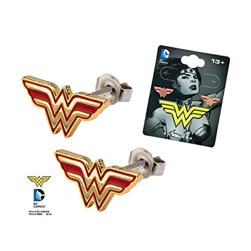 Stainless Steel Post with Wonder Woman Logo Stud - Stud Earrings Wonder Woman