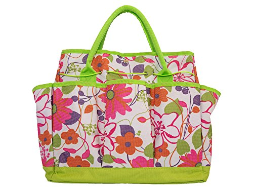 Garden Tool Bag with Pockets - Floral Garden Tool Bag Tote, Gardening Gift, Reinforced Garden Bag