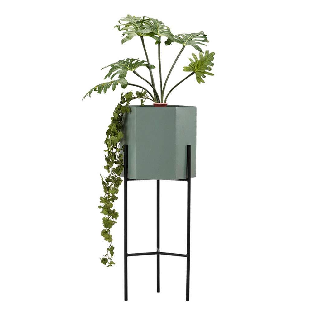 LTJTVFXQ-flower stand Mensola per Fiori in Ferro battuto in Stile Nordico (colore   verde, Dimensioni   80cm)