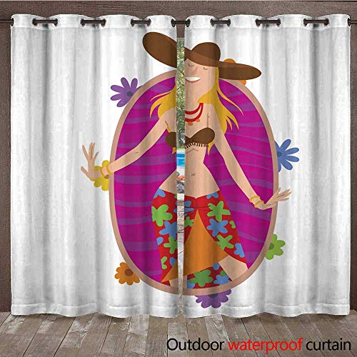 RenteriaDecor Outdoor Curtain for Patio Oval Frame Woman Hippie with Long Blond Hair W96 x L108