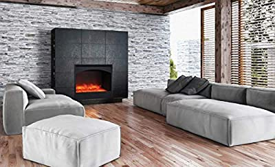 Amantii Zero Series Built-in Electric Fireplace (ZECL-31-3228-STL-ARCH), Arched Frame, 31-Inch