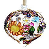 THE JOY TREE Cloisonne Floral Butterfly Glass Teardrop Ornament, Gift Boxed