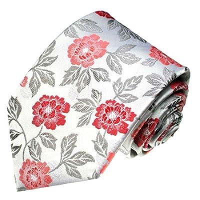 LORENZO CANA - Luxury Italian 100% Silk Tie Handmade Silver Red Floral - 84386
