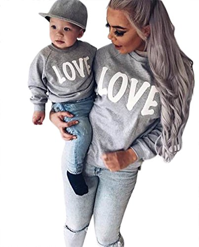 BANGELY Family Matching Mother Daughter Son Letters Print Hoodie Long Sleeve Sweatshirt Size 1-2 Years/90 (Grey) Matching Mother Baby Clothes