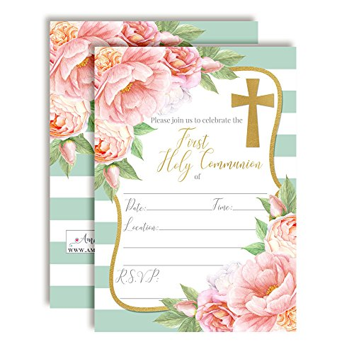 Watercolor Peony First Holy Communion Religious Party Invitations, 20 5