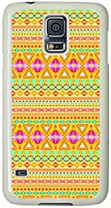 Geometric multicolor Tribal striped Pattern Samsung Galaxy S5 Case with White Skin