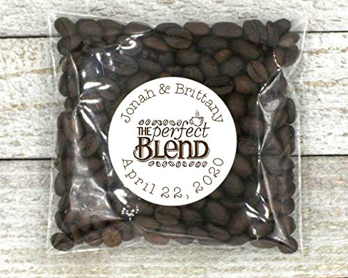 Personalized Coffee Favor Labels for Wedding, Shower, or Party - 20 favor bags, The Perfect Blend Bridal Blend Coffee Wedding Favors