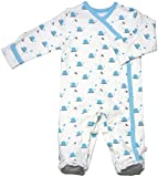Babysoy Baby Organic Cotton Pattern Footie Pajamas (Whale, 6-12 Months)