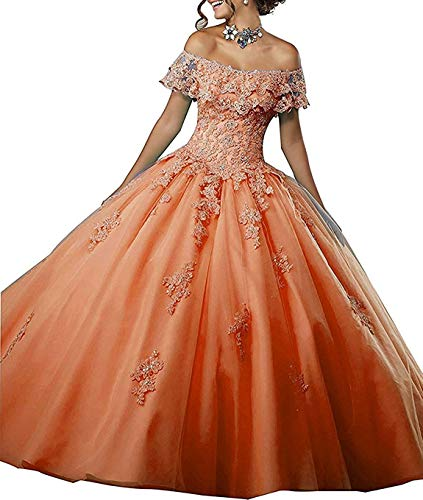 Gown Quinceanera New (Meledy Women's Ball Gowns Lace Quinceanera Dress Long Off-Shoulder Formal Girl's 16 Dresses New Orange US02)