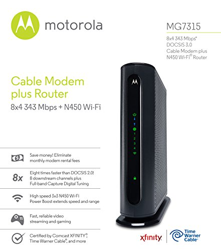 MOTOROLA MG7315 8x4 Cable Modem Plus N450 Single Band Wi-Fi Gigabit Router with Power Boost, 343 Mbps Maximum DOCSIS 3.0… 3 8x4 DOCSIS 3.0 cable Modem Plus a built-in N450 single band (2.4 GHz) Wi-Fi Gigabit Router with four Gigabit (GigE) Ethernet ports, a firewall, and more. This product is recommended for DOCSIS 3.0 and 2.0 cable services. For DOCSIS 3.0 services, this modem provides actual Cable internet service speeds up to 145 Mbps. A Broadcom Cable Modem Chipset provides security from denial of service attacks. Requires cable internet service. Approved by and for use with Comcast Affinity and Xfinity x1, Cox, Charter spectrum, time Warner Cable, brighthouse, WOW!, Cable one, rcn, Mediacom and other cable service providers. Eliminate cable Modem rental fees up to 132 dollars per year. (Savings are shown for Affinity and vary by cable service provider. No cable Modem is compatible with fiber optic, DSL, or satellite services from Verizon, AT&T, CenturyLink, and others. Model MG7315 has no phone jack.) Built-in high-speed Wi-Fi router with N450 Wi-Fi and Power boost provides internet access for Wi-Fi devices including smartphones, notebooks, tablets, game stations, HDTVs, Amazon echo, Google home, Chromecast, Roku, Amazon Fire TV, and Apple TV. Four 10/100/1000 Gigabit Ethernet LAN ports provide wired connections to Windows and Mac computers, HDTVs, game stations, streaming TV devices, and other ethernet-capable devices.