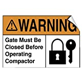 Warning Gate Must Be Closed Before Operating Compactor LABEL DECAL STICKER 18 inches x 24 inches