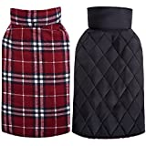 MIGOHI Dog Jackets for Winter Windproof Waterproof Reversible Dog Coat for Cold Weather British Style Plaid Warm Dog Vest for Small Medium Large Dogs RED S