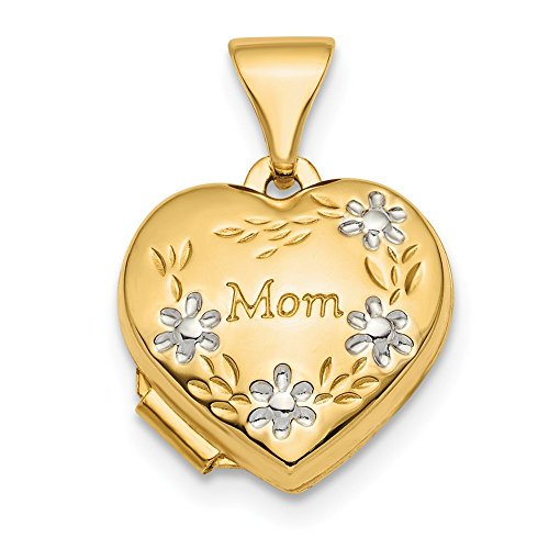 Solid 14k Yellow and White Gold Two Tone Polished Floral Mom Heart Locket (12.1mm x 12.2mm)