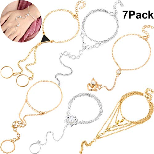 - Syhood 6 Pieces Slave Bracelet and Ring Hand Harness Bracelet Glitter Rhinestone Hand Bracelet Slave Chain Link Finger Ring Bracelet for Women and Girls Gifts