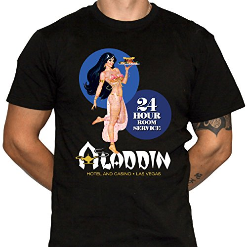 Aladdin Hotel and Casino Tshirt Room Service Harem Girl Shirt Classic Las Vegas (X-Large) Black