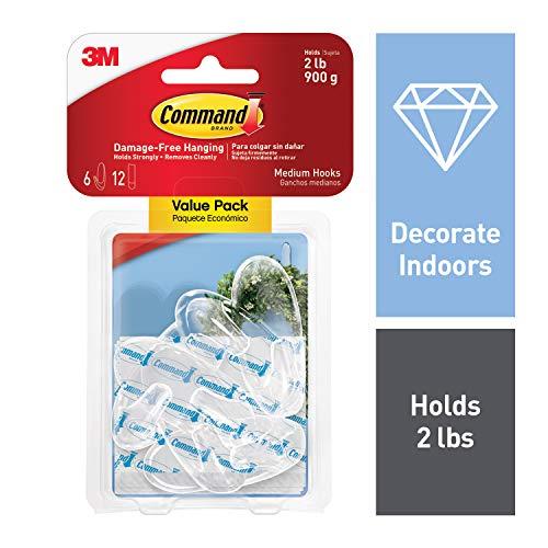 Command - Clear Hooks & Strips, Plastic, Medium - 6 Hooks &