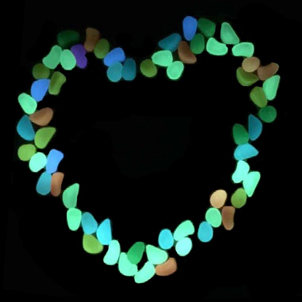 Jardín, brilla en la oscuridad Pebbles, yihongda Glow rocas (100 pcs) decoración para al aire libre, jardín, camino, Patio césped, jarrón y pecera: ...