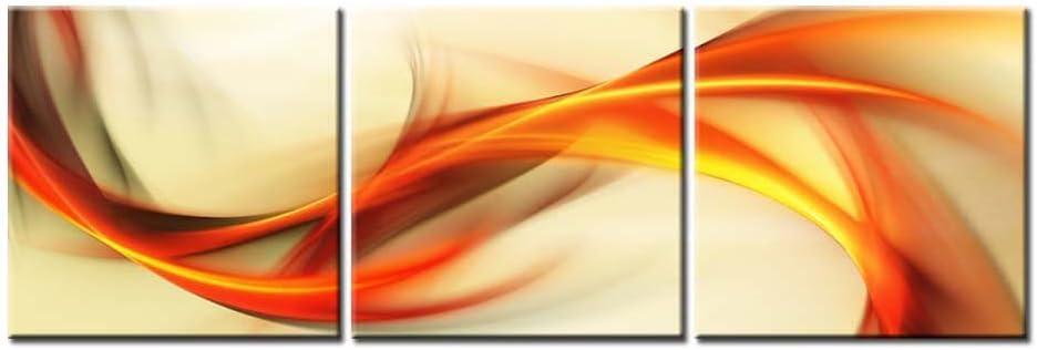Lienzo Pintura para abstracto elegante ondulado Antecedentes en color naranja y Golden giclée de más de fondo blanco 3 piezas Panel imagen sala de estar de fotos Impresiones de fotos sobre lienzo