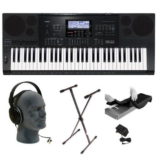 Casio CTK-7200 PPA 61-Key Premium Keyboard Pack with Audio-Technica ATH-T200 Headphones, Power Adapter, Stand and Dust Cover