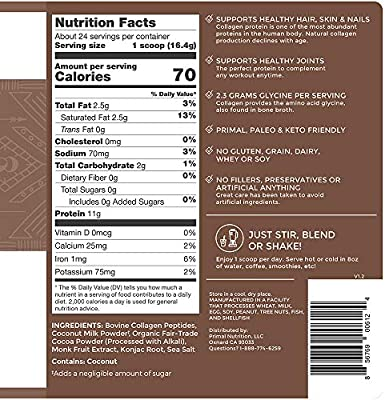Primal Kitchen Collagen Fuel Protein Mix, Chocolate Coconut,Supports Healthy Hair, Skin, Nails and Joints, Promotes Muscle Repair, 13.9 Ounce