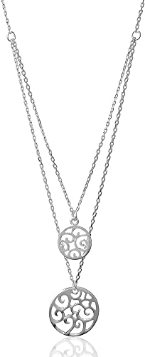 Large abstract double metal heart flower pendant long necklace silver jewelry