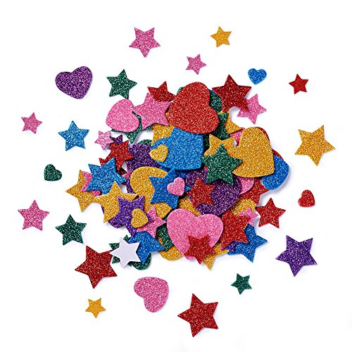 - Beadthoven Heart & Stars Glitter Stickers Self-Adhesive Foam Mixed Color Assorted Size Handmade Crafts Supplies for Kid's Arts Greeting Cards Scrapbooks Christmas Holiday Home Party Decoration