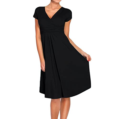 Sue&Joe Women's Fit and Flare Dress V-neck Ruched Flowy Pleated Cap Sleeve Dress
