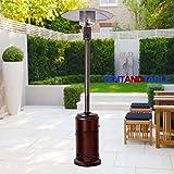 40K BTU Propane-Powered Bronze Finish Stainless Steel High-Power Outdoor Courtyard Patio Outdoor Heater with 8-Foot Radius Heat Coverage