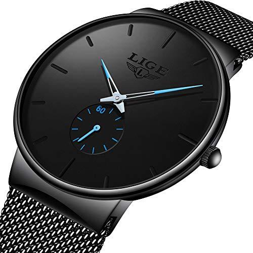 (Mens Watch Fashion Waterproof Quartz Wrist Watches Men Dress Stainless Steel Band Black Watches Men)