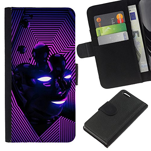 Lead-Star (Abstract Purple Pink Face) Colorful Impression Holster Cuir Wallet Cover Housse Peau Cas Case Coque Pour Apple iPhone 5C