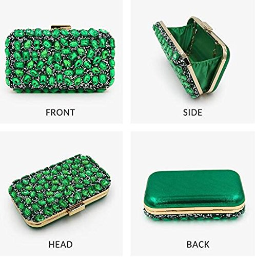 Bag Bag Pure Women Diamond GSHGA Clutch Clutches Green Evening Beaded Purse Party 7wEZSfYqf