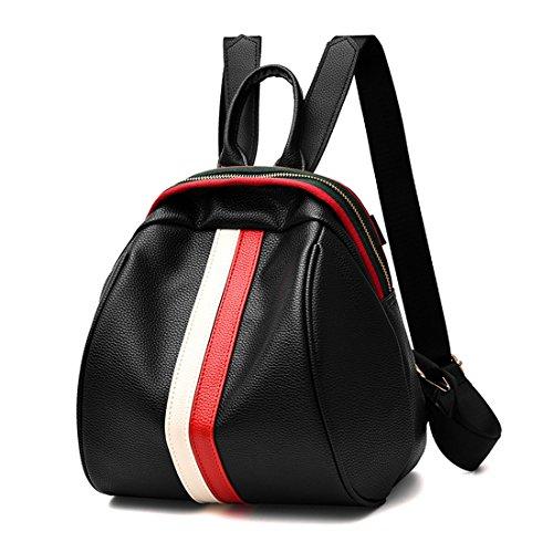 Luckywe Mochila de viaje PU Fashion College para uso como equipaje de mano Blanco