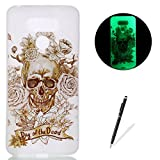 jelly fish phone cases - LG G6 Case Luminous Silicone Cover [Free Black Touch Stylus] KaseHom Watercolor Design Noctilucent Glow in The Dark Soft Soft Jelly Clear TPU Gel Skin Bumper for LG G6,Skull Rose