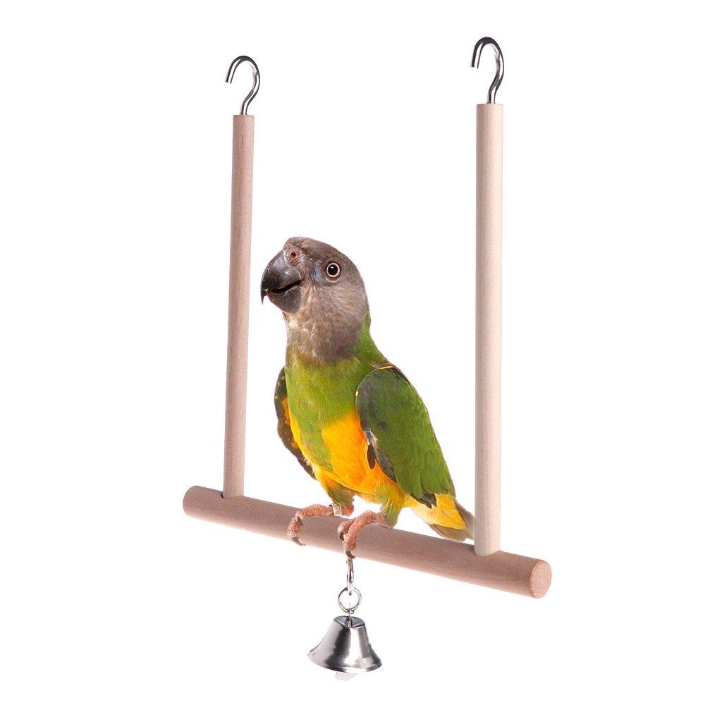 Jiamins Birds Perch Parrot Jugar Juguete Soporte Naturales Hölzernen Balancín Bell Cage Hanging