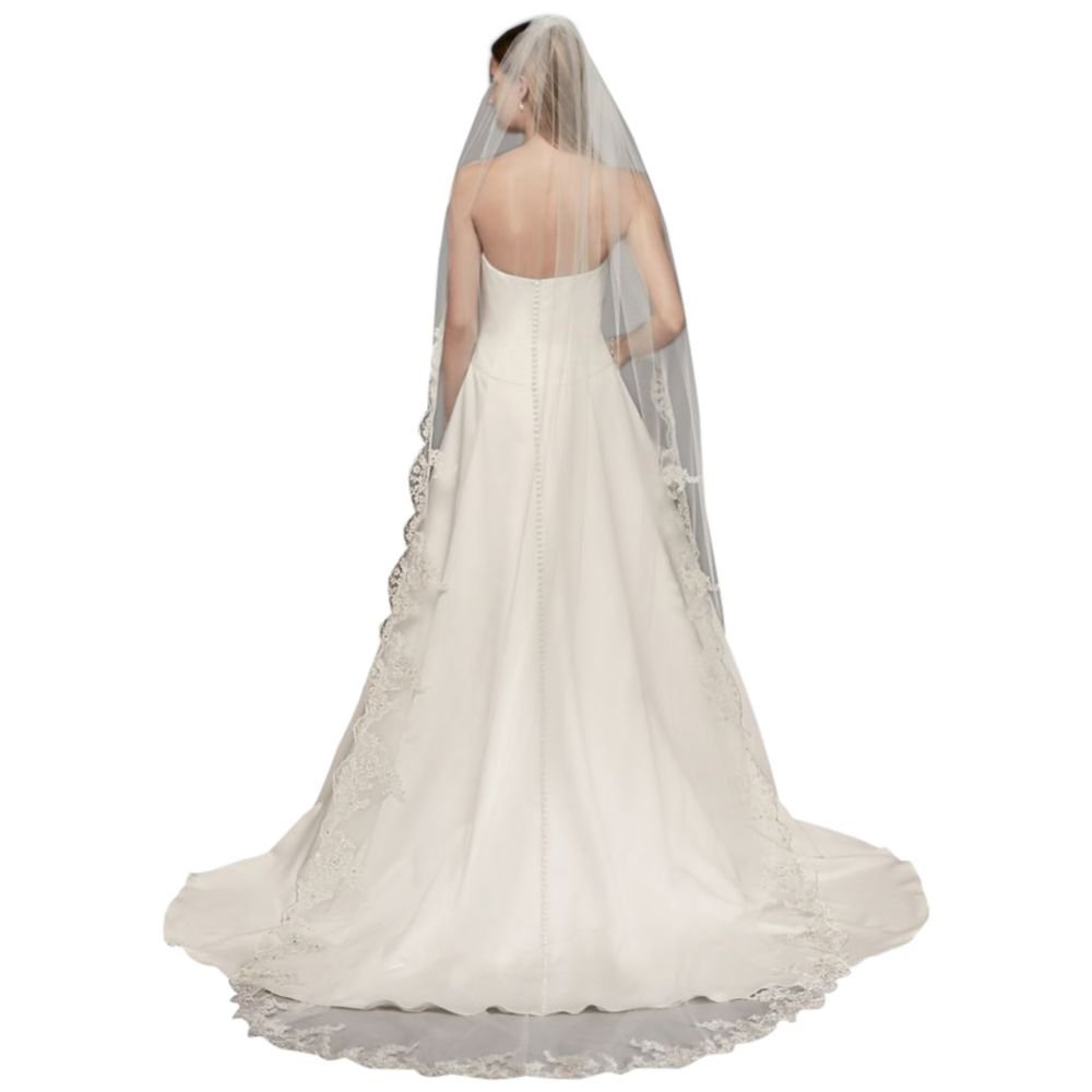 Floral Embroidered Cathedral Veil with Rhinestones Style V682C, White