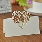 NUOLUX Laser cut Table Name Place Cards Seating Numbers Card Wedding Birthday Decoration Pack of 50