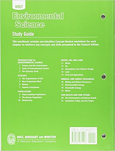 Holt Environmental Science: Study Guide: Karen Arms: 9780030931123 ...