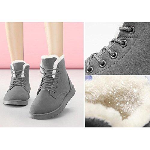 Casual mujeres corto Tacón piel wdjjjnnnv Las tobillo GRAY de 39 cordones ante de botas peluche nieve algodón caliente 41 zapatos Martin invierno Plano q5g6wtxUw