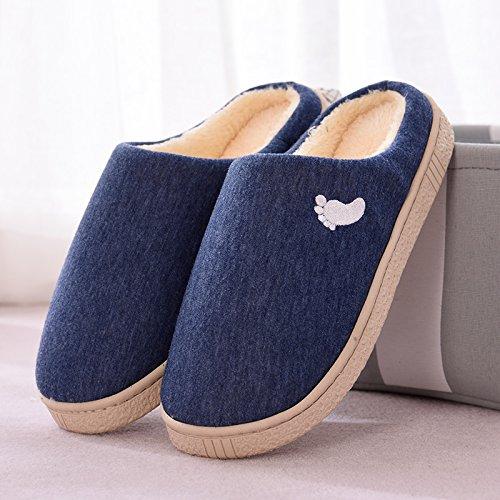 Inverno fankou paio di pantofole di cotone femmina spessa coperta calda antiscivolo home soggiorno pantofole uomini e ,41-42, blu scuro