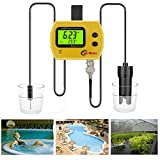 Digital PH Monitor for Hydroponics - QIYAT Professional Online PH &TEMP Meter for Aquarium Portable Acidimeter Fine Drinking Water Quality Analyzer (PH-991)