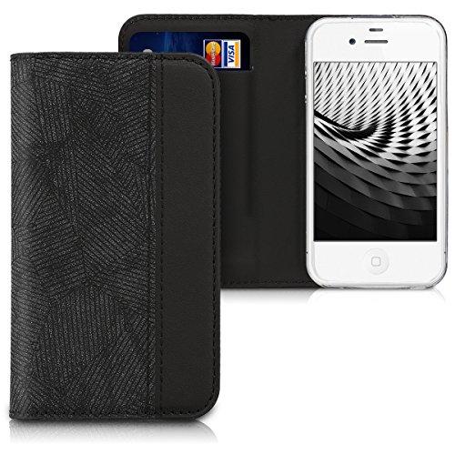 kwmobile Flip Case for Apple iPhone 4 / 4S - PU Leather Wallet Folio Cover with Card Slot, Stand Feature - - Flip 4s Cover