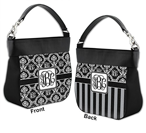 Front Purse Personalized Leather Genuine Trim Damask Hobo Back amp; Monogrammed w qCE40Ew