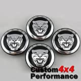 JAGUAR 58MM BLACK SET OF 4 CENTER WHEEL HUB CAPS EMBLEM CAP BADGE HUBS