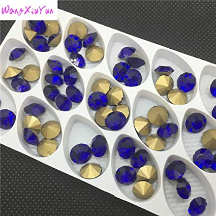 7d8939742b Calvas 1 All Colors Sizes ss28 ss38 6mm,8mm,Glass Chatons Pointed Back  Round Crystal Fancy Crystal for Jewelry Accessory - (Color: Cobalt, Item ...