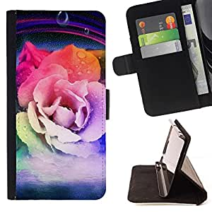 """Arco iris de colores de primavera flor del pétalo"""" Colorida Impresión Funda Cuero Monedero Caja Bolsa Cubierta Caja Piel Id Credit Card Slots Para LG G3"""