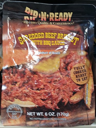Rip 'N' Ready Shredded Beef Brisket with BBQ Sauce 6 oz (Pack of 6)