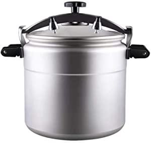 Aluminum alloy pressure cooker, commercial large-capacity explosion-proof gas pressure cooker, suitable for restaurants, hotels, etc. 25L, 33L, 50L (Color : Silver, Size : 25L)