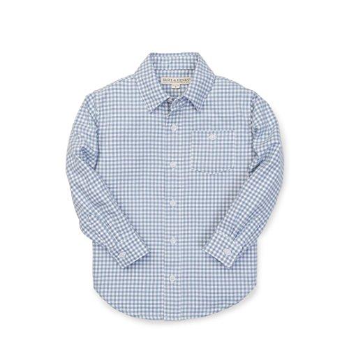 Hope & Henry Boys' Light Blue Gingham Woven Poplin Button Down Shirt Made (Cotton Poplin Gingham Shirt)