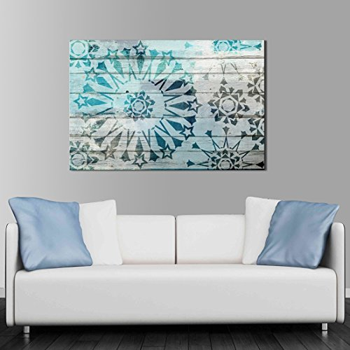 ARTLAND Giclee Canvas Prints Abstract Wall Art 'Blue Starflower' 1-piece Framed Painting for Bedroom 24x36-inch