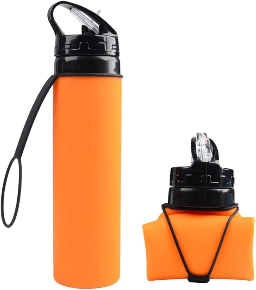 Alimagic Botella de Agua Plegable, Taza de Agua de Silicona, Plegable Botella de Agua 600ml otellas Reutilizables de Agua para Viaje y Deportes de Primera Calidad Silicona Ideal (Naranja)